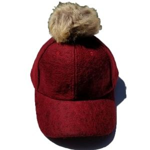 Accessories - Faux Fox Fur Pom Pom Red Wool Look Hip-Hop Hat